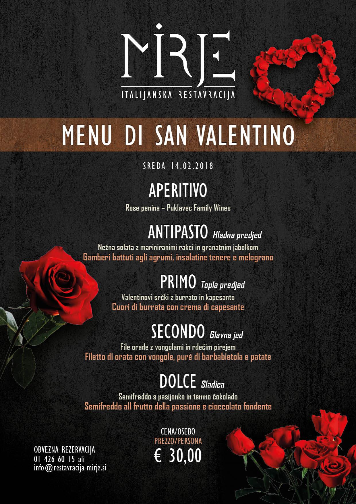 Valentinov menu v Restavraciji Mirje