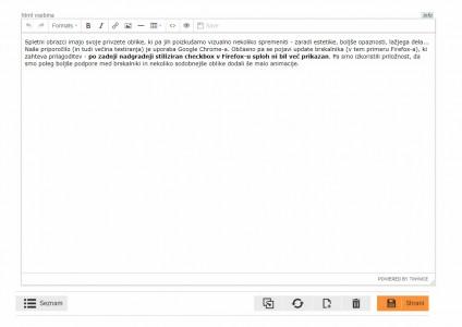 TinyMCE editor - po posodobitvi na v 4.8.5